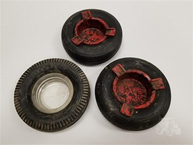 Lot Of 3 Vintage Firestone Tires Ashtrays Other Items For