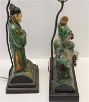 2 Antique Chinese Glazed Figural Tile Lamps.