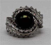 JEWELRY. Platinum, Diamond and Tahitian Pearl Ring