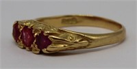 JEWELRY. Signed English 18ct Gold and Ruby Ring.