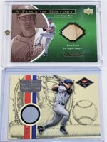 (2) MLB Game Used Bat And Jersey Cards