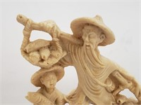 Asian Father And Son Fishing Figurine
