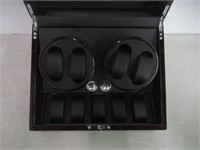 """""""As Is"""" Diplomat Ebony Wood Quad Watch Winder with"""