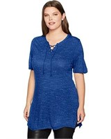 Just My Size Women's 24 Plus-Size Lace Up Tunic,