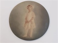Large Antique Circular Childrens Photo Button