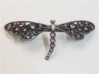 Pink Jeweled Dragonfly Hair Barret