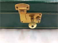 Green Wooden Jewelry Box With Jewelry And Watches