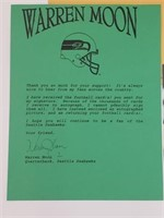 Warren Moon Signed Photo And Letter To Fan