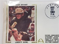 1982 Paul Bear Bryant First Day Issue Envelope