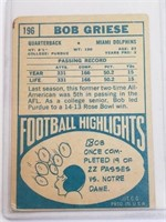 1968 Bob Griese Topps #196