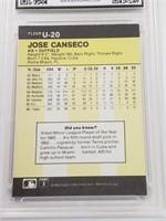 1986 Jose Canseco Fleer Update #U20 Rookie MINT 9