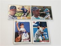 (4) Signed Baseball Cards