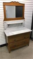 Swiss Made Marble Top 4-Drawer Chest w/Mirror