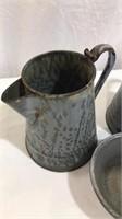 (2) Coffee Granite Coffee Pots