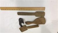 3 Homemade Wooden Spatulas and Cast Bird