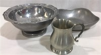 Wilton Pewter Bowl, Pitcher, Vase