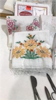 Embroidered Pillow Cases, Scissors