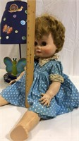(2) Vintage Dolls and Lamp