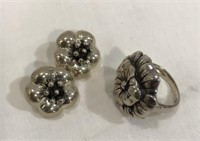 Flower Earrings & Ring