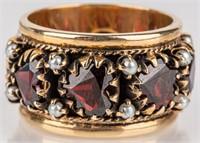 Jewelry 14kt Yellow Gold Garnet & Pearl Heart Ring