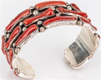 Jewelry Sterling Silver Signed Coral Cuff Bracelet