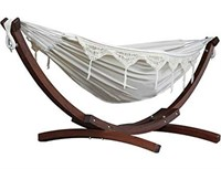 VIVERE DOUBLE COTTON HAMMOCK WITH ARC STAND 8'