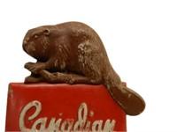 RARE CANADIAN PACIFIC CAST ALLOY SHIELD / BEAVER