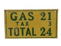 GAS 24 CENT S/S PAINTED METAL SIGN