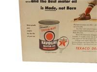 TEXACO HAVOLINE MOTOR OIL BASEBALL NEWSPRINT ADV.