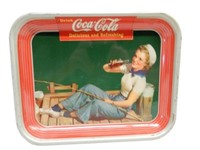 1940 DRINK COCA-COLA  TIN SERVING TRAY