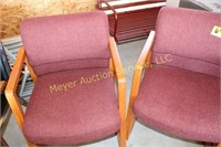 3 Maroon Office Chairs