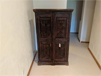 Carved Two Door Wood Armoire