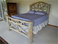Queen Whitewashed Log Full Size Bed Frame,