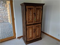 Hand Painted Ivy Wood Cabinet