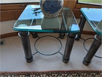 2) Clay Lamps, 2) Glass Top End Tables