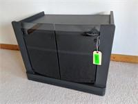 Tinted Glass Door Black TV Stand