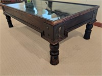 Unique Wood Glass Top Coffee Table