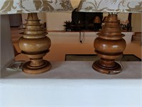 2) Wood Lamps with Gold /Cream Shades