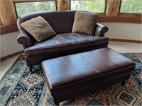 Red Leather Loveseat and Ottoman