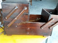 2 Antique Sewing Boxes and Wine Rack