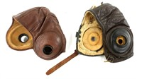 WWII AAF & AAA LEATHER FLIGHT HELMET LOT OF 2