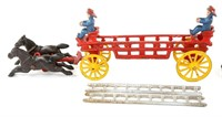VINTAGE CAST IRON FIRETRUCK TOY WITH LADDERS