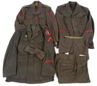 WWII USMC NCO & ENLISTED GREEN WOOL UNIFORM LOT