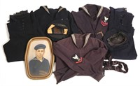 WWII US NAVY BLUE JUMPER UNIFORMS & PICTURE LOT
