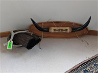Mounted Horns with Native American Style Beading,