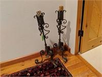 2) Metal Floor Candlesticks