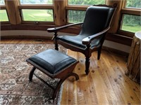 Armchair with Rivet Accents, Matching Foot Stool