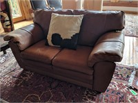 Leather Couch, Loveseat, Cowhide Pillows