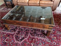 Glass Top Coffee Table with Grid Pattern Inlay