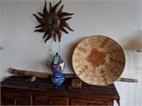 Sun Wall Decor, Wicker Bowl, Rain Stick, Coasters